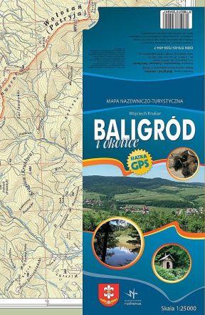 Mapa Baligrod i okolice. Krukar. Bieszczady z jaktoblisko.com.