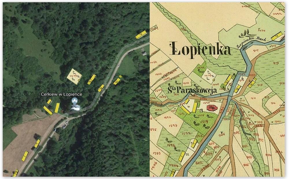 Okolica cerkwi w Lopience dzis i dawniej. Bieszczady z jaktoblisko.com