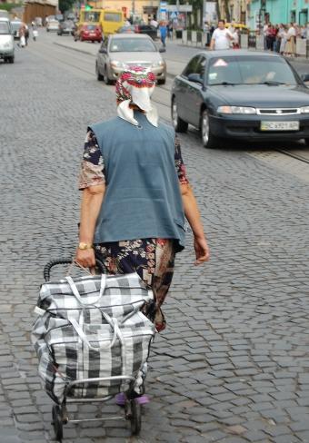 Kobieta z wózkiem - Lwów