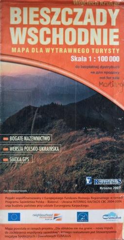 Wojciech Krukar - Bieszczady Wschodnie, mapa 2007, Wydawnictwo Ruthenus